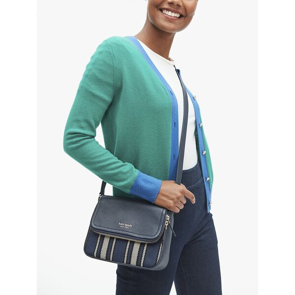 run around canvas stripe large flap crossbody, blazer blue multi, hi-res