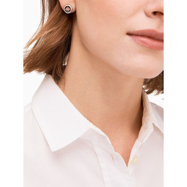 spot the spade pave halo spade studs, clear/silver, hi-res