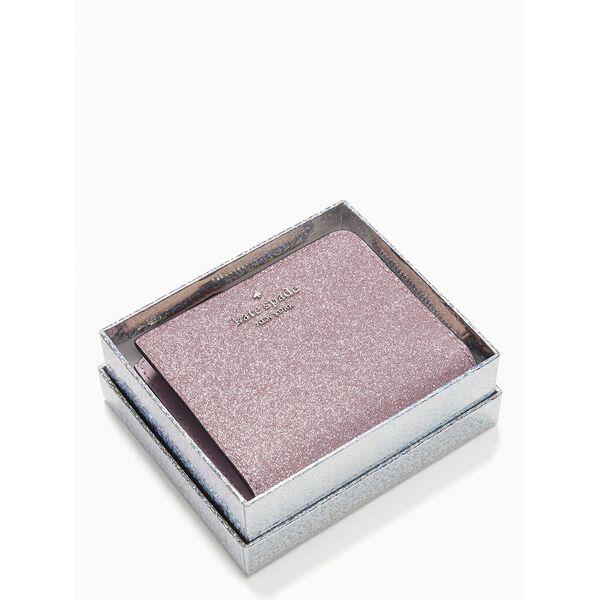 lola glitter boxed small l-zip bifold, rose, hi-res
