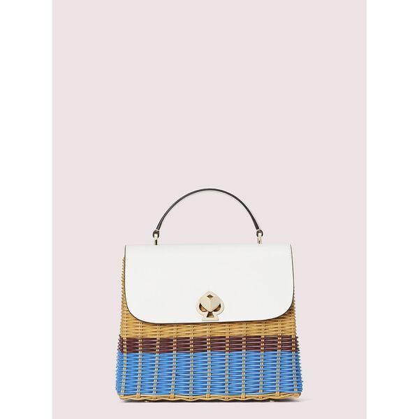 romy wicker medium top-handle bag