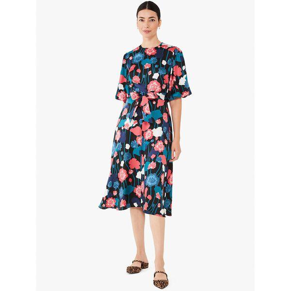 viney floral matinee dress, black, hi-res