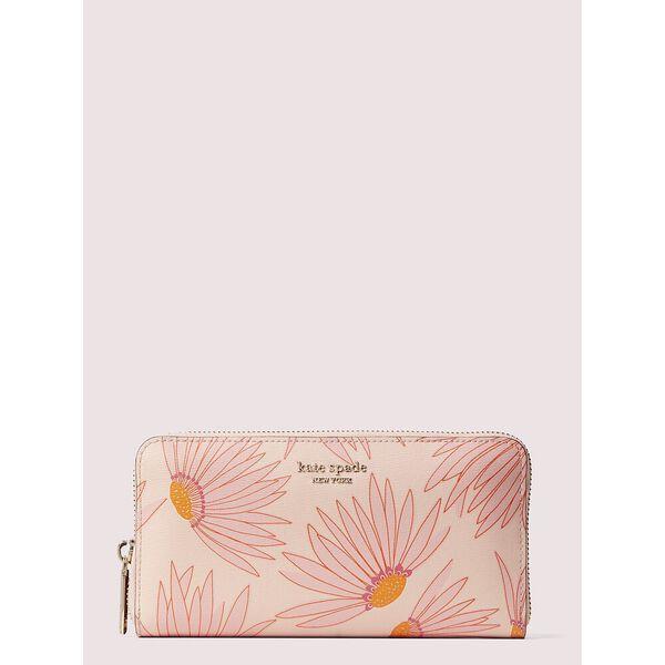 spencer falling flower zip-around continental wallet