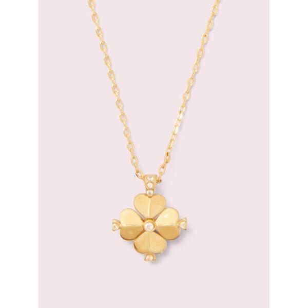 legacy logo spade flower mini pendant, clear/gold, hi-res