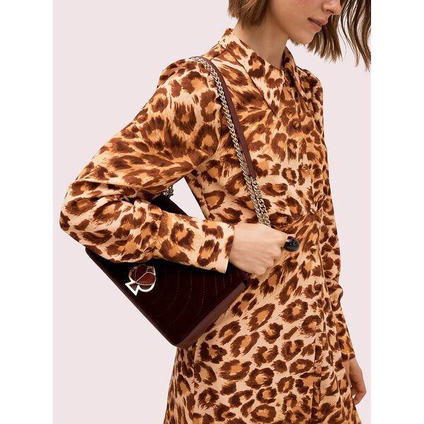 amelia velvet medium convertible chain shoulder bag, cherrywood, hi-res