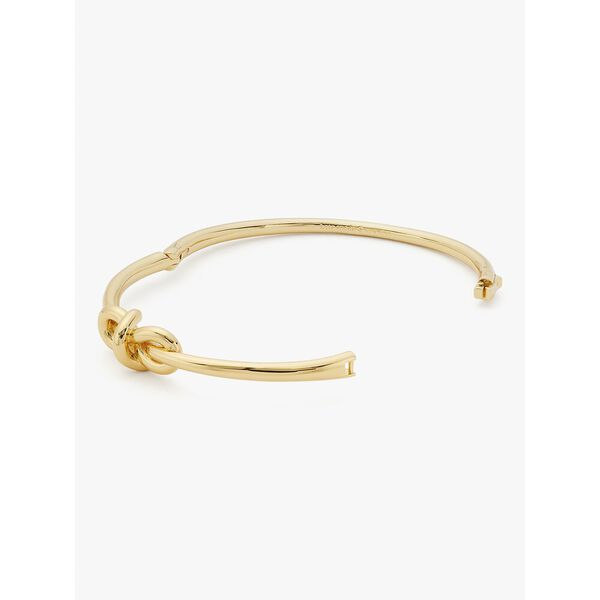 with a twist knot hinged bangle, gold, hi-res