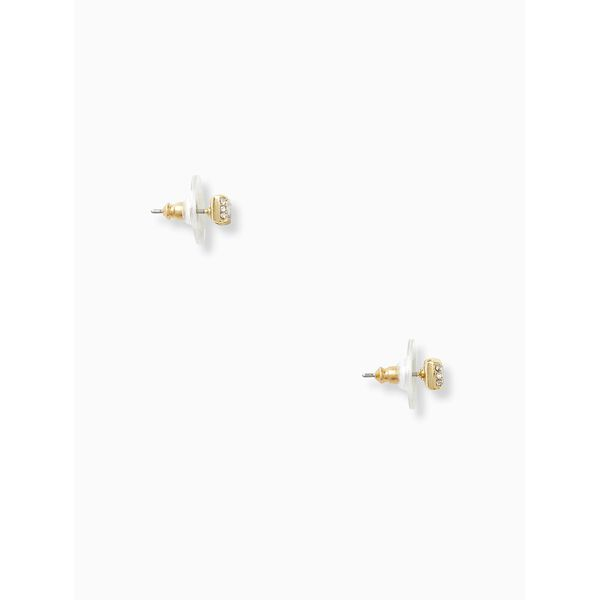 ready set bow pave bow studs, CLEAR/GOLD, hi-res