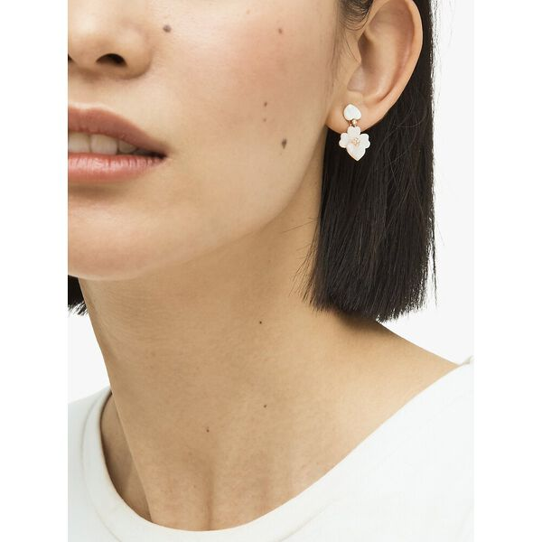 precious pansy drop earrings, cream multi/rose gold, hi-res