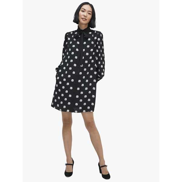 cat dot shirtdress