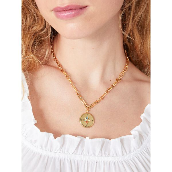 my medallion compass pendant, gold multi, hi-res