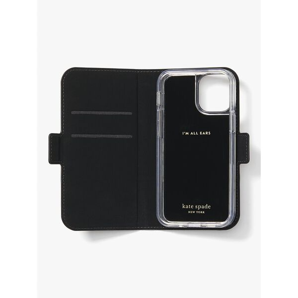 spencer iphone 12 mini magnetic folio case, warm beige/black, hi-res