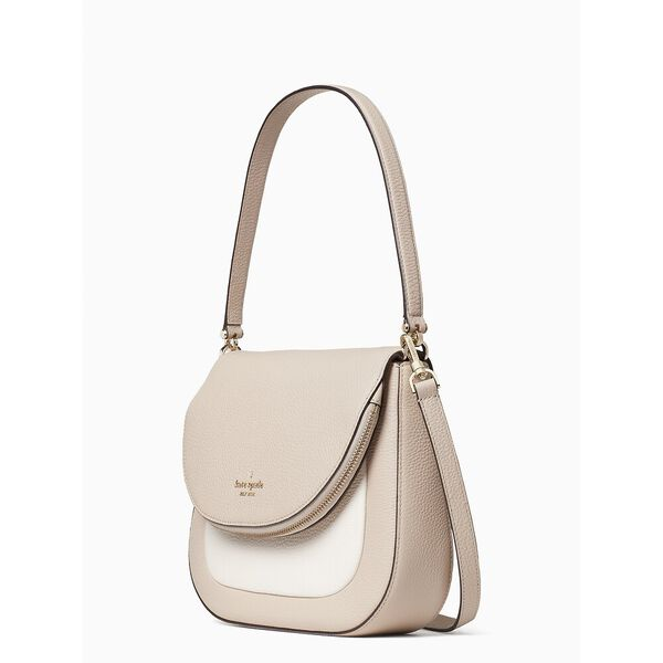leila colorblock medium flap shoulder bag, warm beige multi, hi-res