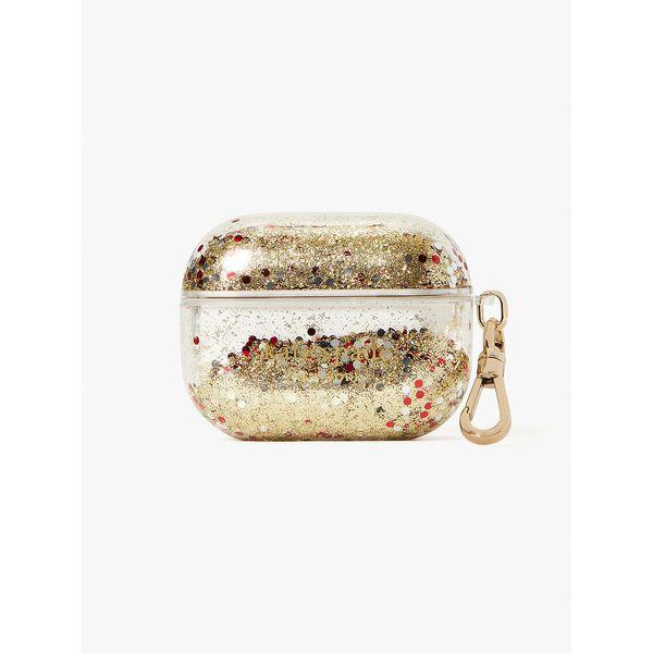 liquid glitter airpods case, gold multi, hi-res