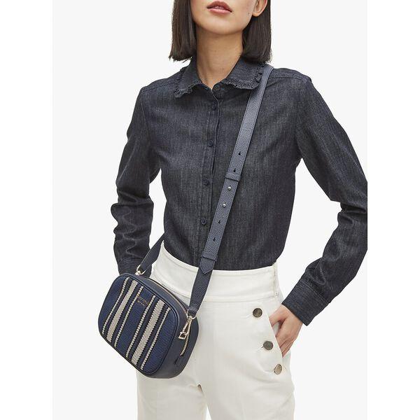 astrid canvas stripe medium camera bag, blazer blue multi, hi-res