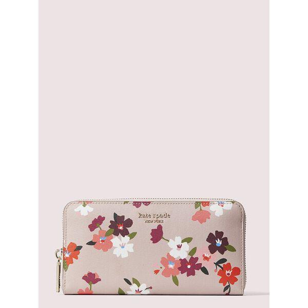 spencer cherry blossom zip-around continental wallet