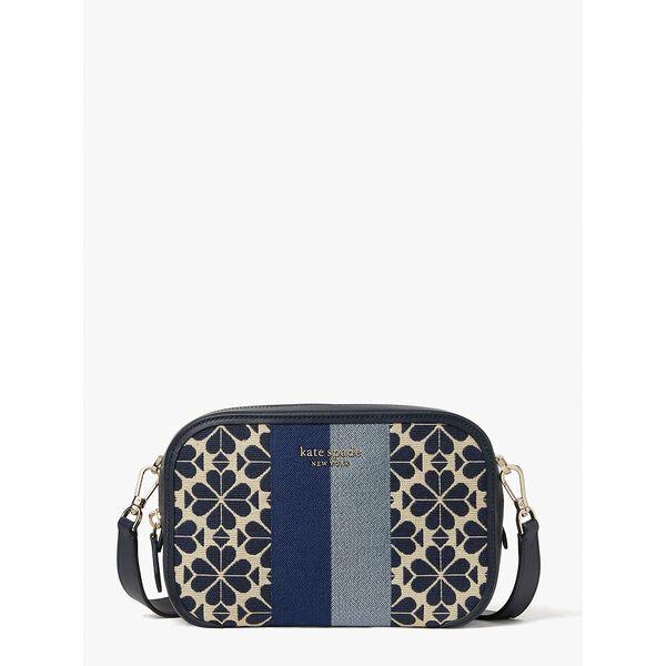 spade flower jacquard stripe medium camera bag, blue multi, hi-res