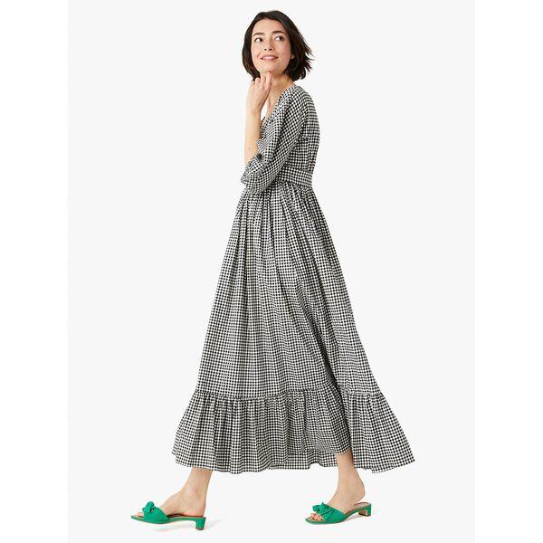 mini gingham bodega midi dress, black, hi-res