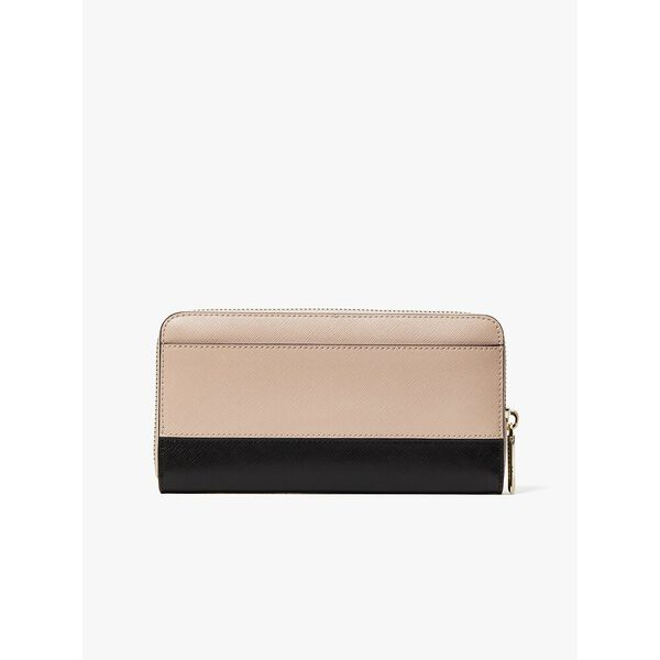 spencer zip-around continental wallet, WARM BEIGE/BLACK, hi-res
