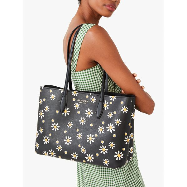 all day daisy dots large tote, black multi, hi-res