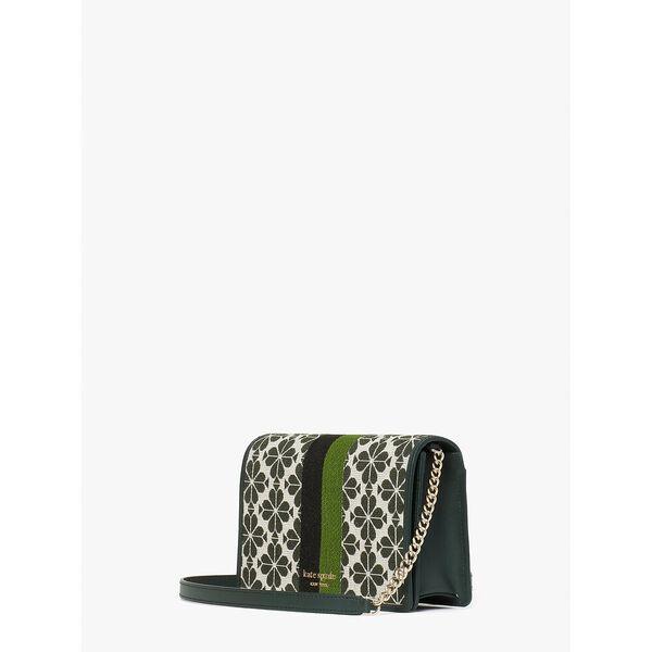spade flower jacquard stripe chain wallet, green multi, hi-res