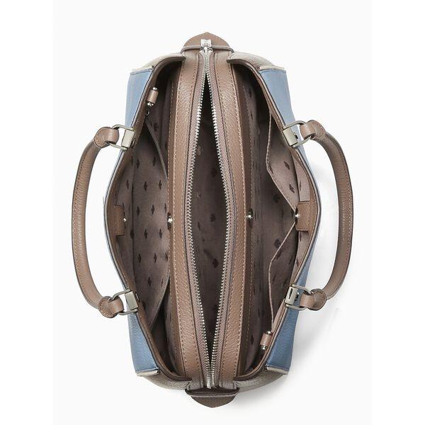 leila colorblock medium triple compartment satchel, baltic sea multi, hi-res