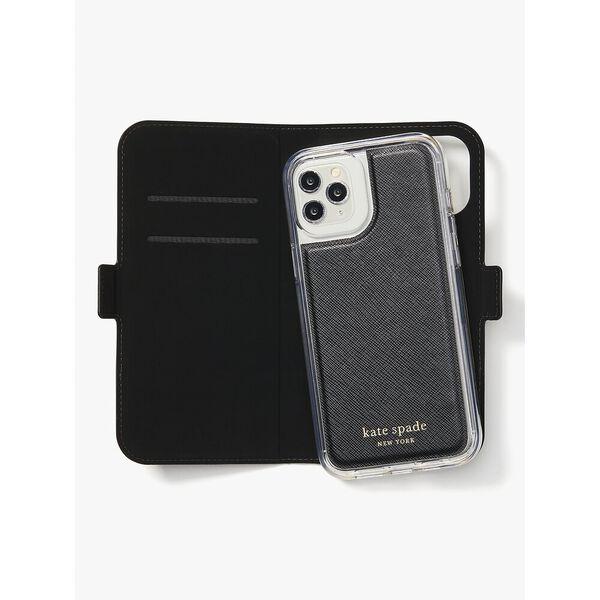 spencer iphone 12 pro max magnetic folio case, warm beige/black, hi-res
