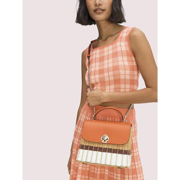 romy wicker medium top-handle bag, tamarillo, hi-res