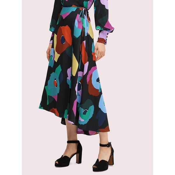 floral collage skirt, black, hi-res