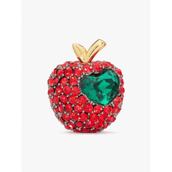 dashing beauty pavé apple studs, red, hi-res