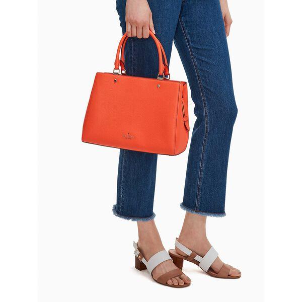 leila medium triple compartment satchel, coral buds, hi-res