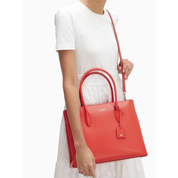 eva medium top zip satchel, geranium, hi-res