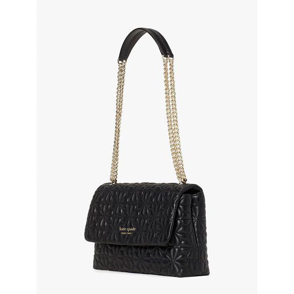 bloom large flap shoulder bag, black, hi-res