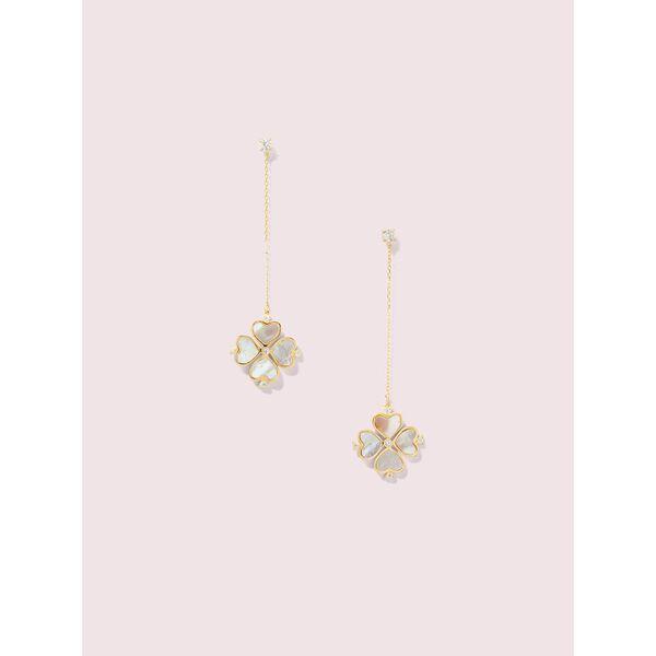 legacy logo spade flower linear earrings, cream multi, hi-res