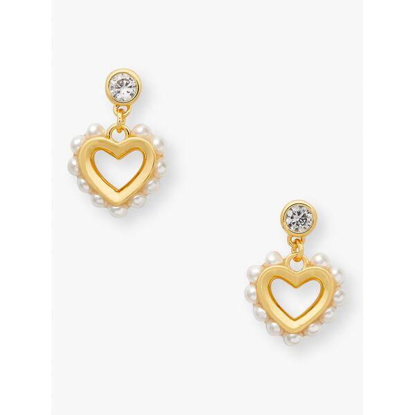 shining spade pearl drop earrings, cream, hi-res