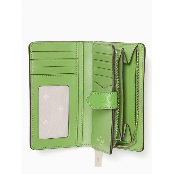 staci medium compact bifold wallet, turaco green, hi-res