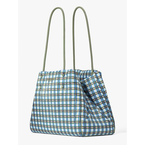 everything puffy plaid large tote, multi, hi-res