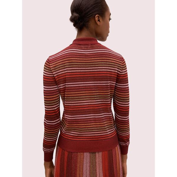metallic stripe polo sweater, multi, hi-res