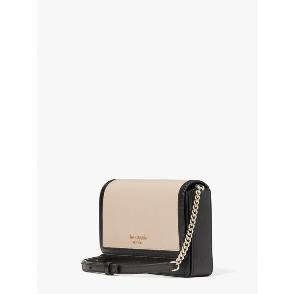 spencer flap chain wallet, warm beige/black, hi-res