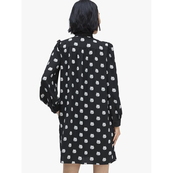 cat dot shirtdress, BLACK, hi-res
