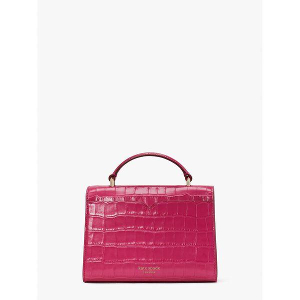 lovitt croc-embossed small top-handle bag, festive pink, hi-res
