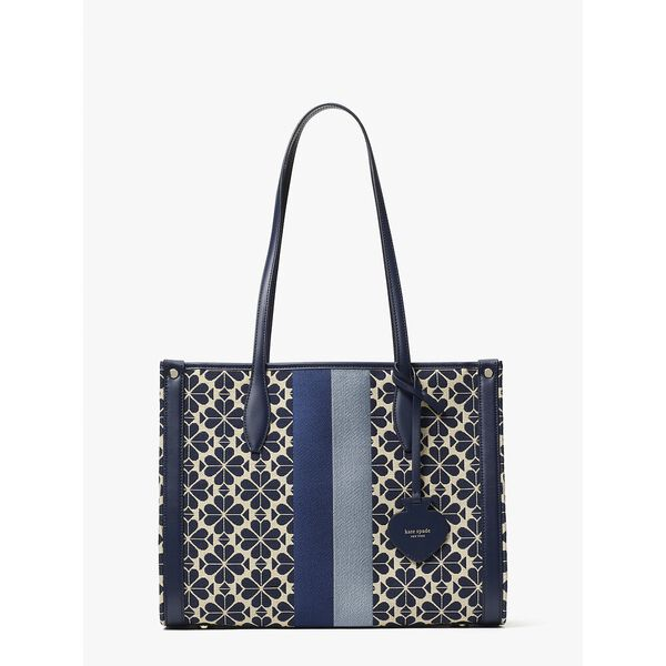 spade flower jacquard stripe market medium tote
