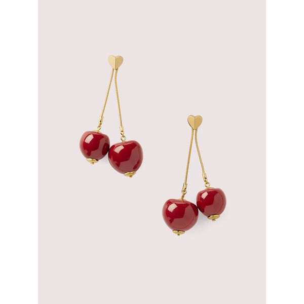 tutti fruity cherry linear earrings, RED, hi-res