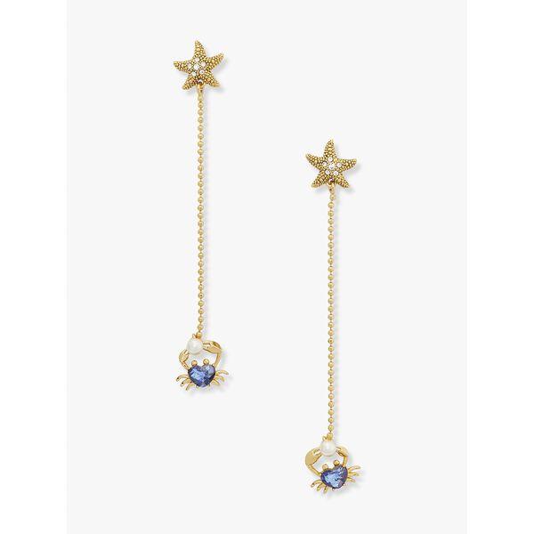 sea star crab linear earrings