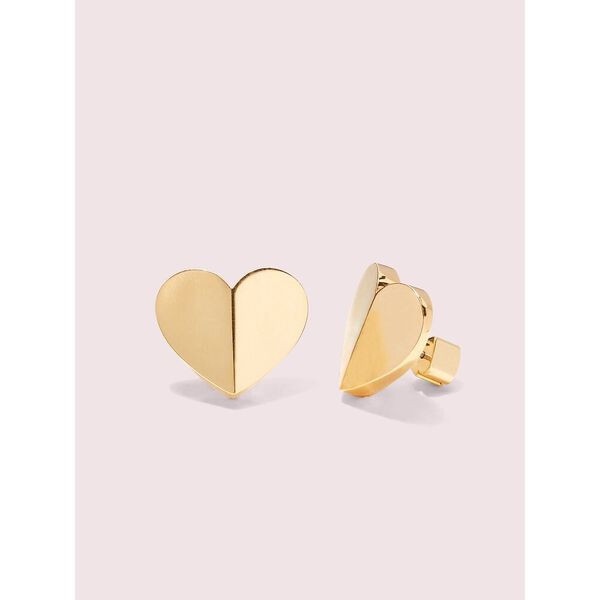 heritage spade heart statement studs, gold, hi-res