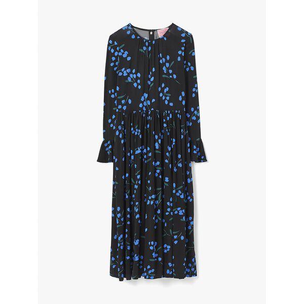 sea breeze floral knit dress, black, hi-res