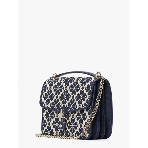 spade flower jacquard locket large flap shoulder bag, blue multi, hi-res