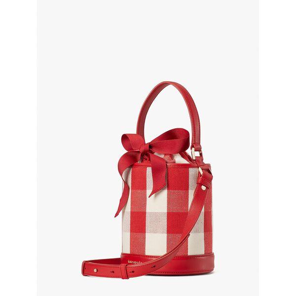 picnic gingham small bucket bag, red multi, hi-res