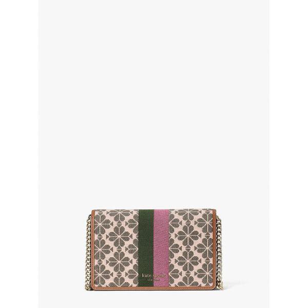 spade flower jacquard stripe chain wallet