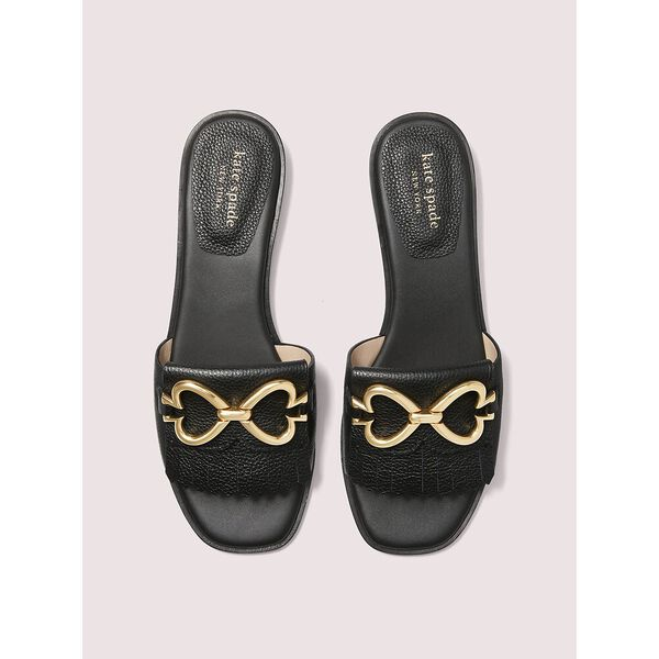 positano spade chain slide sandals, black, hi-res
