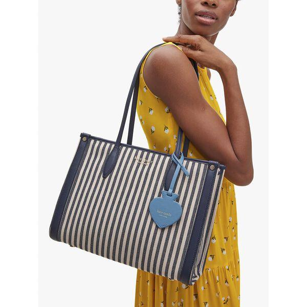 market stripe medium tote, blue multi, hi-res