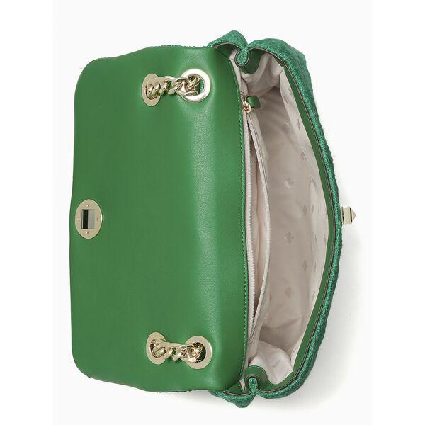 natalia solid tweed medium flap shoulder bag, green bean, hi-res